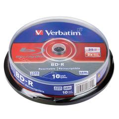 Диски BD-R (Blu-ray) VERBATIM, 25 Gb, 2x, 10 шт., Cake Box