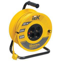Удлинитель на катушке IEK (ИЕК) INDUSTRIAL, 4 розетки с заземлением, 30 м, 3х1 мм, 2200 Вт