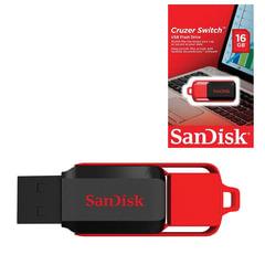 Флэш-диск 16 GB, SANDISK Cruzer Switch, USB 2.0, черный/красный