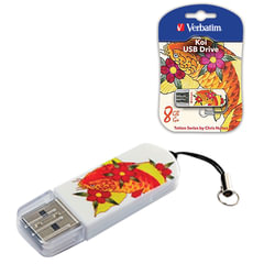 Флеш-диск 8 GB, VERBATIM Mini Tattoo Edition KOI FISH, USB 2.0, белый с рисунком, 49882