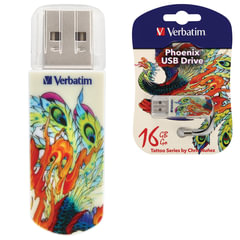 Флеш-диск 16 GB, VERBATIM Mini Tattoo Edition Phoenix, USB 2.0, белый с рисунком, 49887