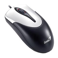 Мышь проводная GENIUS NetScroll 100 V2, USB, 2 кнопки + 1 колесо-кнопка, оптическая, чёрно-серебристая