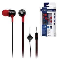 Наушники с микрофоном (гарнитура) вкладыши SVEN SEB-190M, проводная 1,2 м, черные с красным