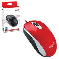 Мышь проводная GENIUS DX-110, USB, 2 кнопки + 1 колесо-кнопка, оптическая, красная
