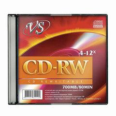 Диск CD-RW, VS, 700 Mb, 4-12 x Slim Case, 1 штука, VSCDRWSL01