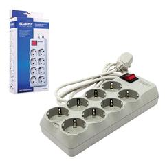 Сетевой фильтр SVEN Optima Pro, 8 розеток, 3,1 м, серый