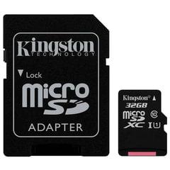 Карта памяти micro SDHC, 32 GB, KINGSTON Canvas Select, UHS-I U1, 80 Мб/сек. (class 10), адаптер