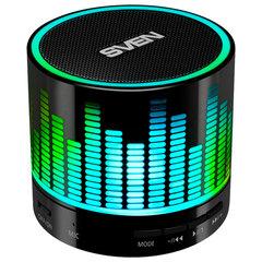 Колонка портативная с подсветкой SVEN PS-47, 1.0, 3 Вт, Bluetooth, FM-тюнер, USB, черная