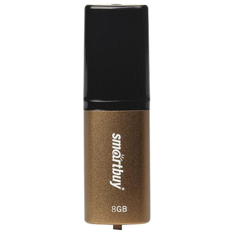 Флэш-диск 8 GB, SMARTBUY X-Cut, USB 2.0, металлический корпус, коричневый/черный