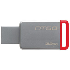 Флэш-диск 32 GB KINGSTON DataTraveler 50 USB 3.0, металлический корпус, серебристый/красный, DT50/32GB