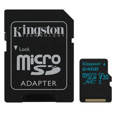 Карта памяти microSDXC 64 GB KINGSTON Canvas Go UHS-I U3, 90 Мб/сек (class 10), адаптер, SDCG2/64GB