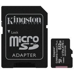 Карта памяти microSDXC 512 GB KINGSTON Canvas Select Plus UHS-I U3,100 Мб/с (class 10), адаптер, SDCS2/512GB