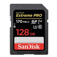 Карта памяти SDXC 128 GB SANDISK Extreme Pro UHS-I U3, V30, 170 Мб/сек (class 10), SDSDXXG-128G-GN4IN