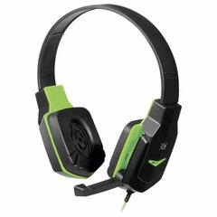 Наушники с микрофоном (гарнитура) DEFENDER Warhead G-320, проводные,1,8 м, с оголовьем, черные с зеленым