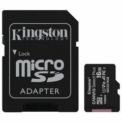 Карта памяти microSDHC 16 GB KINGSTON Canvas Select Plus, UHS-I U1, 100 Мб/с (class 10), адаптер, SDCS2/16GB