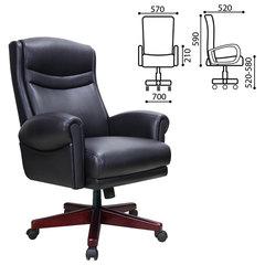"""Кресло офисное BRABIX """"Gladiator EX-700"""", дерево, натуральная кожа, черное"""