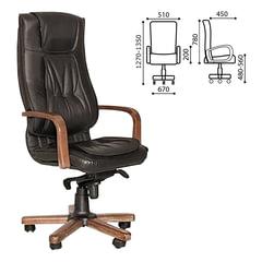 """Кресло офисное """"Texas extra"""", кожа, дерево, черное"""