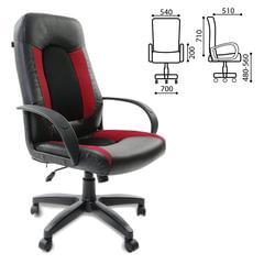 """Кресло офисное BRABIX """"Strike EX-525"""", экокожа черная, ткань черная/бордовая, TW"""