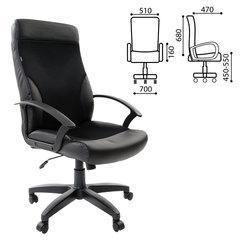 """Кресло офисное BRABIX """"Trust EX-535"""", экокожа черная, ткань черная, TW"""