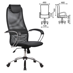 """Кресло офисное МЕТТА """"BK-8CH"""", ткань-сетка, хром, серое"""