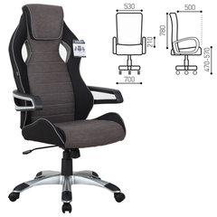"""Кресло компьютерное BRABIX """"Techno GM-002"""", ткань, черное/серое, вставки белые"""
