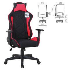 """Кресло компьютерное BRABIX """"GT Racer GM-101"""", подушка, ткань, черное/красное"""