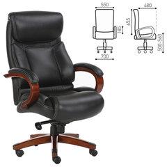 """Кресло офисное BRABIX """"Infinity EX-707"""", дерево, натуральная кожа, черное"""