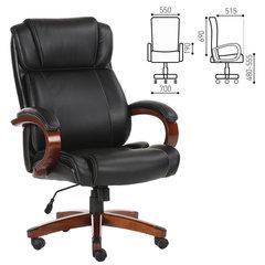 """Кресло офисное BRABIX """"Magnum EX-701"""", дерево, рециклированная кожа, черное"""