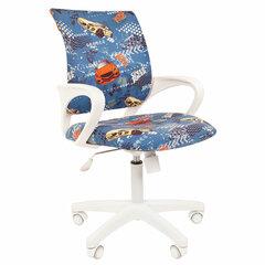 """Кресло детское СН KIDS 103, с подлокотниками, синее с рисунком """"Машинки"""""""