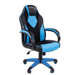 Кресло компьютерное СН GAME 17, экокожа, черное/голубое