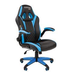 Кресло компьютерное СН GAME 15, экокожа, черное/голубое