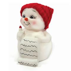 """Фигурка новогодняя """"Снеговик и список подарков"""", 8 см, керамика"""