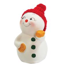 "Фигурка новогодняя ""Снеговик с монетами"", 8 см, керамика"