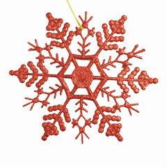 """Украшение елочное подвесное """"Снежинка-паутинка красная"""", 16,5х16,5 см, пластик"""