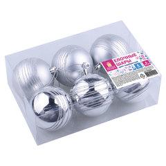 Шары елочные с узором ЗОЛОТАЯ СКАЗКА, набор 6 шт., пластик, 8 см, серебристые, 3 глянцевых, 3 матовых