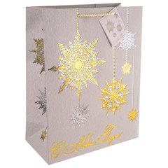 """Пакет подарочный ламинированный, 26х32,4х12,7 см, """"Золото и серебро"""", плотный, 250 г/м2"""