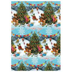 """Бумага упаковочная подарочная """"Новогодние гуляния"""", 100х70 см, в рулонах, мелованная, 80 г/м2"""