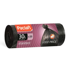 "Мешки для мусора 30 л, черные, в рулоне 20 шт., ПНД, 7,3 мкм, 50х60 см, PACLAN ""Standard"""