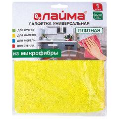 Салфетка универсальная, плотная микрофибра, 30х30 см, ассорти (желтая, зеленая, розовая), ЛАЙМА, 601244