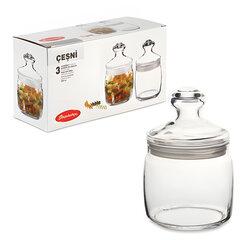 """Банки с крышкой """"Cesni"""" для сыпучих продуктов, набор 3 шт., 650 мл, стекло, PASABAHCE"""