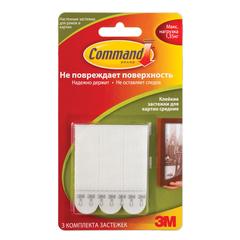 Держатели-застежки самоклеящиеся для рамок COMMAND, КОМПЛЕКТ 3 шт., легкоудаляемые, средние, белые, до 1 кг