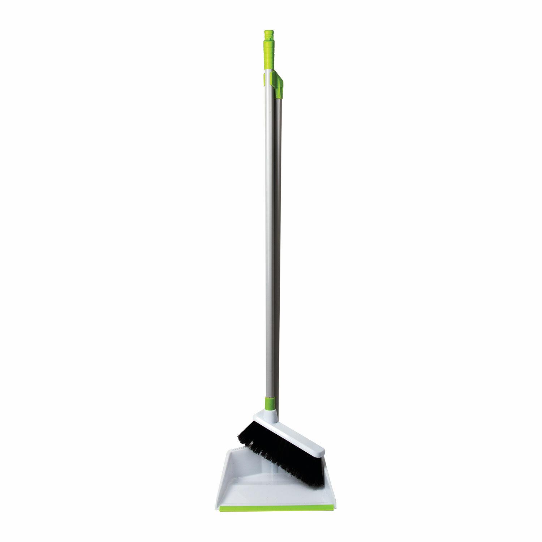 Совок для мусора ЛЮБАША со щеткой-сметкой, стальная ручка 80 см, пластик, резиновая кромка, 603616