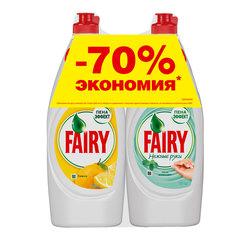 """Промонабор: средство для мытья посуды FAIRY """"Сочный Лимон"""" 0,65 л + FAIRY """"Нежные руки, чайное дерево и мята"""" 0,65 л"""