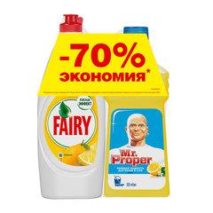 """Промонабор: моющее средство MR. PROPER """"Лимон"""" 0,5 л + средство для мытья посуды FAIRY """"Лимон"""" 0,65 л"""