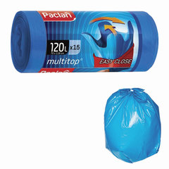 "Мешки для мусора 120 л, с ушками, синие, в рулоне 15 шт., ПВД, 24 мкм, 70х118 см, PACLAN ""Multitop"""
