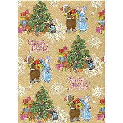 """Крафт-бумага упаковочная подарочная """"Снегурочка с мишкой"""", 100х70 см, в рулонах, 80 г/м2"""