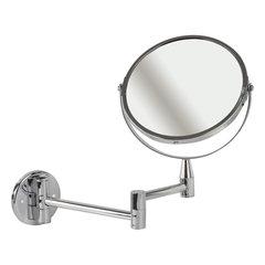 Зеркало настенное BRABIX, диаметр 17 см, двухстороннее, с увеличением, нержавеющая сталь, выдвижное (петли)