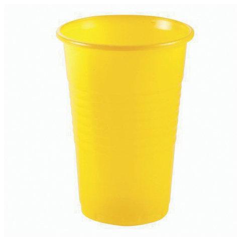 """Одноразовые стаканы, комплект 100 шт., 200 мл, """"Эконом"""", полипропилен (ПП), желтые, вес 1,9 г, СТИРОЛПЛАСТ"""