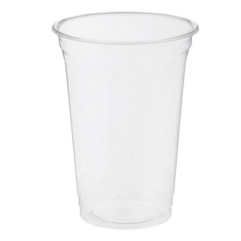 Одноразовые стаканы, комплект 50 шт., 400 мл, ПЭТ, кристально-прозрачные, для холодных напитков/десертов, СТИРОЛПЛАСТ