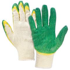 Перчатки хлопчатобумажные 13 класс, 40-42 г, 100 текс, двойной латексный облив, комплект 5 пар, ЛАЙМА ЛЮКС
